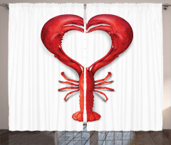 Kırmızı Kalp Desenli Fon Perde Istakoz Beyaz Aşk