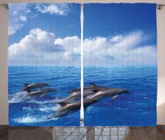 Yunus Temalı Fon Perde Mavi Deniz Gökyüzü Bulut