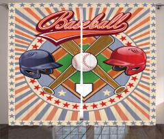 Beyzbol Temalı Fon Perde Kırmızı Oyun Top Sopa