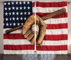 Beyzbol Temalı Fon Perde Kahverengi ABD Bayrağı