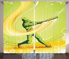 Beyzbolcu Temalı Fon Perde Sarı Yeşil Oyuncu Sopa