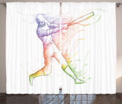 Beyzbolcu Desenli Fon Perde Rengarenk Beyaz Fon