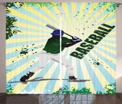 Beyzbolcu Desenli Fon Perde Yeşil Sarı Oyun Spor