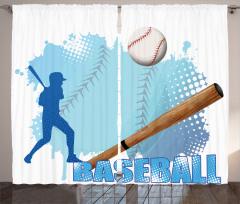 Beyzbol Temalı Fon Perde Beyzbolcu Mavi Lacivert
