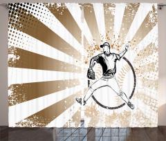 Beyzbolcu Desenli Fon Perde Kahverengi Beyaz