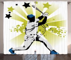Beyzbolcu Desenli Fon Perde Gri Siyah Mavi Yıldız