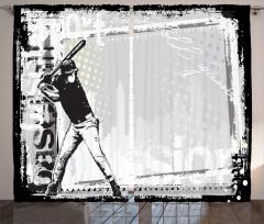 Beyzbolcu Temalı Fon Perde Siyah Beyaz Nostaljik