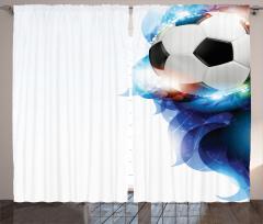Futbol Topu Desenli Fon Perde Futbol Temalı Işıltılı Süslemeler