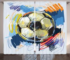 Rengarenk Futbol Topu Fon Perde Rengarenk Şık Tasarım