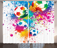 Futbol Topu Fon Perde Rengarenk Şık Tasarım