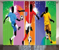 Rengarenk Futbolcu Fon Perde Futbol Temalı Spor Ombre