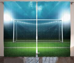 Futbol Sahası Desenli Fon Perde Yeşil Saha
