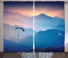 Yamaç Paraşütü Fon Perde Gün Batımı Dağ Mavi