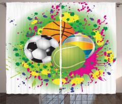 Rengarenk Toplar Fon Perde Futbol Basketbol Voleybol Top
