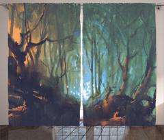 Büyülü Orman Temalı Fon Perde Kahverengi Yeşil