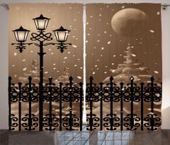 Karda Ay Sokak Lambası Fon Perde Gece