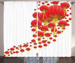 Kırmızı Fener Temalı Fon Perde Uzak Doğu Esintili