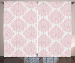 Çiçekli Şık Fon Perde Pembe Beyaz Şık Tasarım