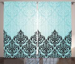 Dekoratif Çiçekli Fon Perde Modern Dekorasyon Mavi