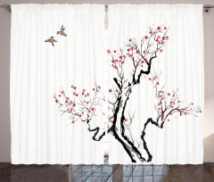 Kiraz Ağacı ve Kuş Fon Perde Siyah Beyaz