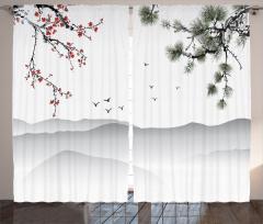 Kiraz ve Çam Ağaçları Fon Perde Beyaz Fon