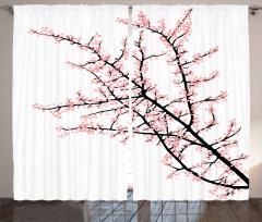 Pembe Çiçekli Ağaç Fon Perde Beyaz Fon