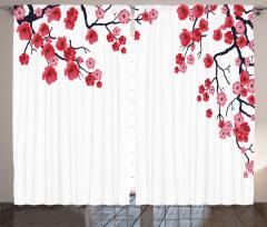 Çiçekli Ağaç Desenli Fon Perde Pembe ve Kırmızı
