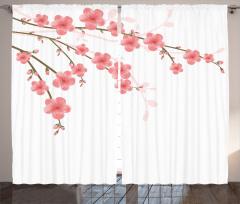 Pembe Çiçek ve Tomurcuk Fon Perde Beyaz