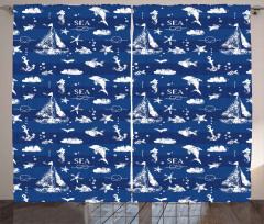Yelkenli ve Balık Fon Perde Deniz Temalı Balık Yelken Beyaz