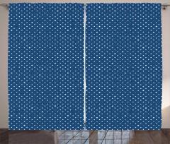 Puantiye Desenli Fon Perde Yıldız Puantiye Şık Tasarım