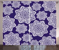 Çeyizlik Çiçekli Fon Perde Çiçekli Lacivert Şık Tasarım
