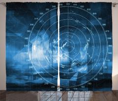 Gemi Radarı Desenli Fon Perde Gemi Radarı Desenli Siyah