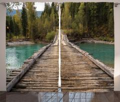 Ahşap Köprü Nehir ve Orman Temalı Fon Perde Yeşil