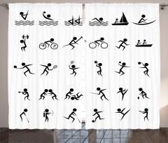 Dekoratif Sporcu Desenli Fon Perde Siyah Beyaz
