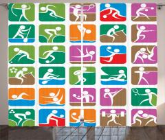 Rengarenk Sporcu Desenli Fon Perde Şık Tasarım