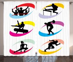 Siyah Sporcu Desenli Fon Perde Beyaz Arka Planlı