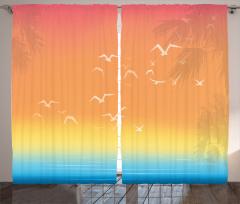 Kuş Palmiye ve Deniz Desenli Fon Perde Turuncu