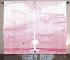 Mor Gökyüzü ve Deniz Desenli Fon Perde Şık Tasarım