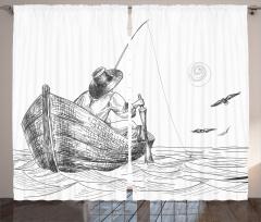 Şık Balıkçı ve Tekne Desenli Fon Perde Siyah Beyaz