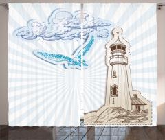 Bulut Mavi Martı ve Fener Desenli Fon Perde Beyaz