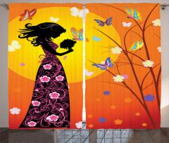 Çiçekli Elbiseli Kız Fon Perde Kelebekler Güneş Çiçekler