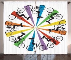 Gökkuşağı Temalı Bisikletli Kadınlar Fon Perde Bisikletli Kadınlar