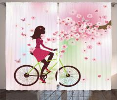 Bisikletli Kız Desenli Fon Perde Bahar Çiçekleri ve Bisikletli Kız