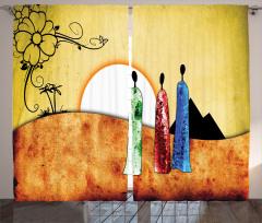 Kadın Figürlü Fon Perde Retro Afrika Turuncu Sarı