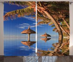 Deniz Manzaralı Fon Perde Mavi Palmiye Gökyüzü