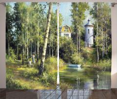 Göl ve Orman Desenli Fon Perde Yeşil Beyaz Ağaç Ev