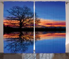 Gölde Gün Batımı Temalı Fon Perde Mavi Turuncu
