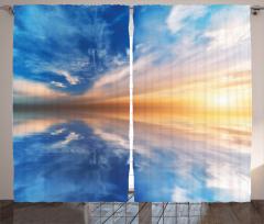 Gün Batımı Temalı Fon Perde Mavi Gökyüzü Sarı