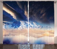 Karlı Dağ Manzaralı Fon Perde Gökyüzü Yıldız Bulut