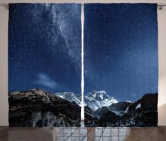 Yıldız ve Dağ Temalı Fon Perde Lacivert Gökyüzü
